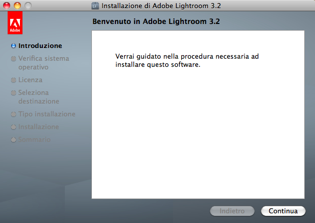 lightroom installazione mac step 1