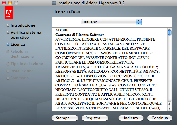 lightroom installazione mac step 2