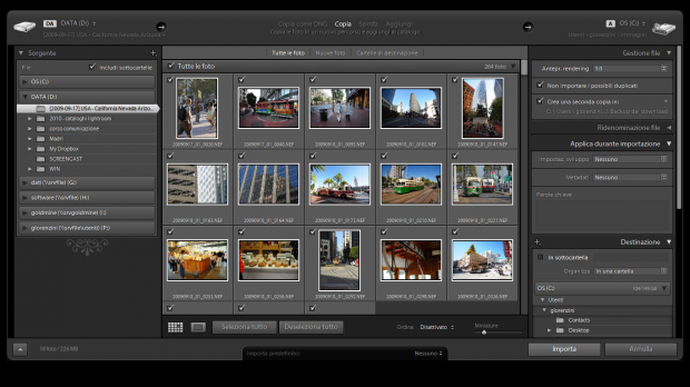 lightroom finestra importazione