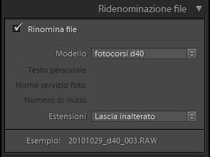 lightroom importazione ridenominazione file