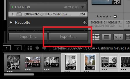 01-lightroom esportazione pulsante esporta