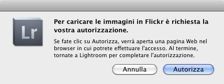 04-lightroom servizi pubblicazione flickr autorizzazione