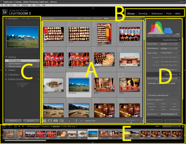 interfaccia libreria lightroom