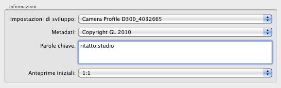 07 lightroom importazione automatica informazioni metadati sviluppo tag