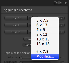 09 lightroom stampa pacchetto personale modifica dimensione celle