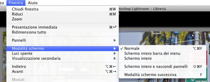 06 lightroom interfaccia visualizzazione visualizzare schermo intero
