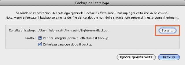 10 lightroom catalogo backup cartella backups folder modifica scegli cambia