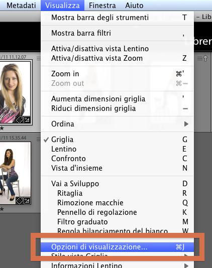 01 lightroom libreria celle miniature personalizzare informazioni visualizzazione griglia vista