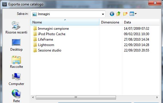 03 lightroom catalogo esportazione file originali anteprime ragolazioni modifiche metadati