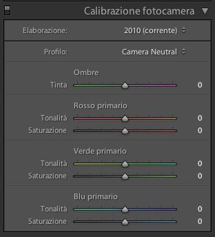 04 lightroom calibrazione fotocamera regolazione colore profilo
