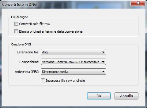 03 lightroom raw dng conversione importazione preferenze gestione file copia