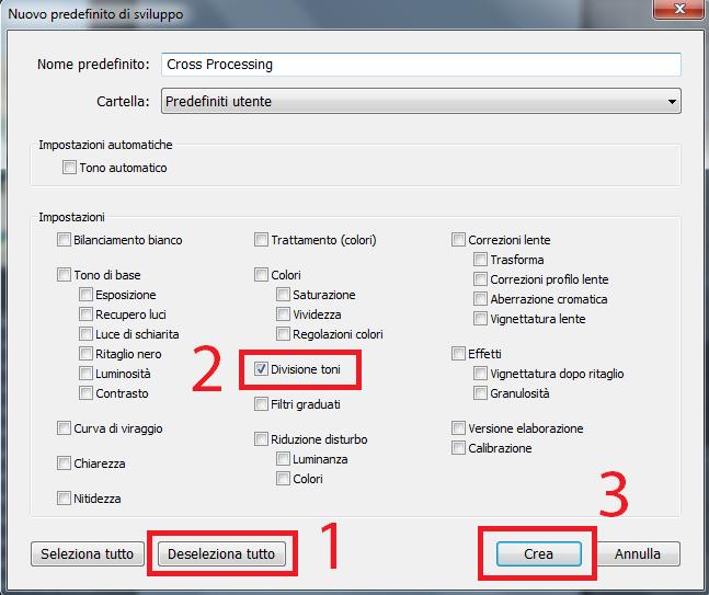 12 lightroom sviluppo divisione toni viraggio seppia cross processing process guida tutorial