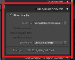 01 lightroom rinominare nome file immagini foto libreria importazione esportazione automatico th