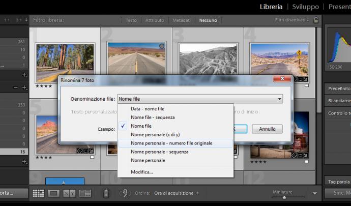 04 lightroom rinominare nome file immagini foto libreria importazione esportazione automatico