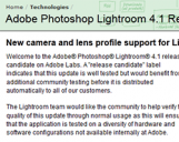 <b>Adobe rende disponibile Lightroom 4.1 RC per risolvere i bug segnalati in Lightroom 4 </b>