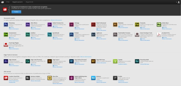 Adobe Creative Cloud sito web gestione account