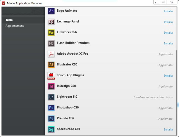 Adobe application manager creative cloud installazione lightroom 5